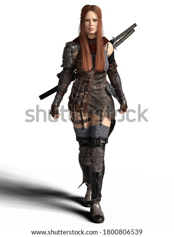 Beautiful red hair fantasy female warrior in armor dress with katana swords in action pose- 3D Illustration