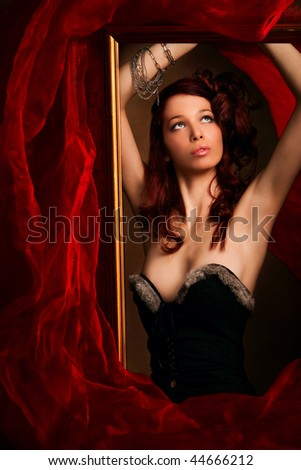 beautiful red hair woman portrait, studio shot