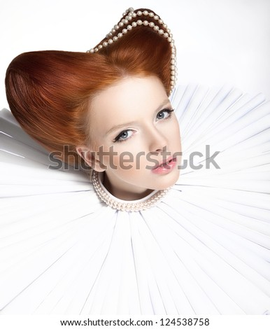 Beautiful Red Head Duchess in Jabot - Retro Style. Dramatic Theatrical Makeup. Masquerade
