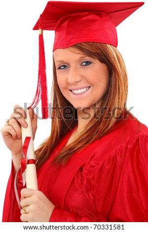 Beautiful red head young woman in red graduation cap and gown with diploma certificate over white.  Great smile.