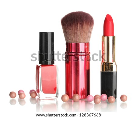 Beautiful red lipstick, nail polish and brush isolated on white