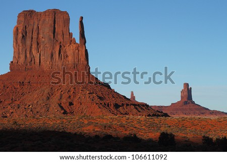 Beautiful Red Navajo Sandstone Buttes of Monument Valley