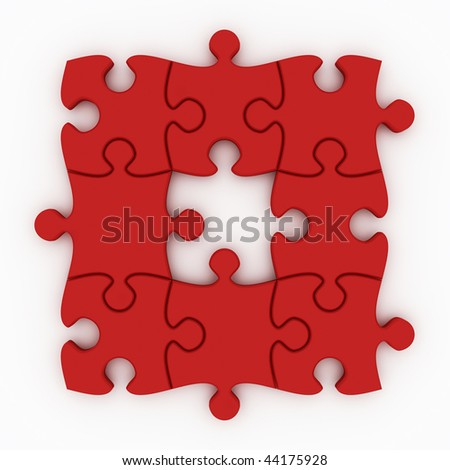Beautiful Red Puzzle on white background - stock photo