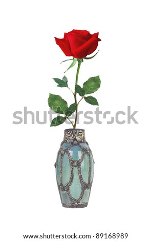 Beautiful red rose in a vase isolated on white
