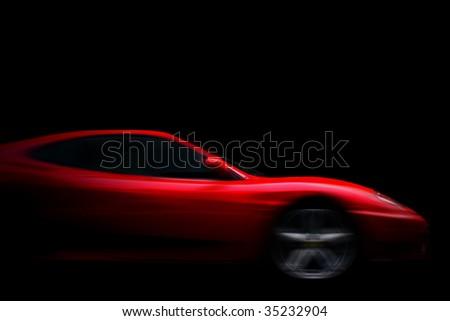 Beautiful red sport car on black
