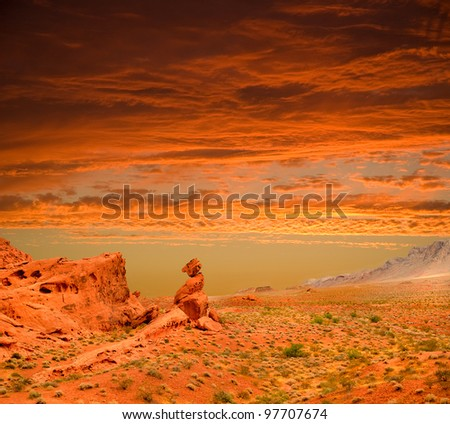 beautiful red sunset over the Valley of Fire State park in Nevada