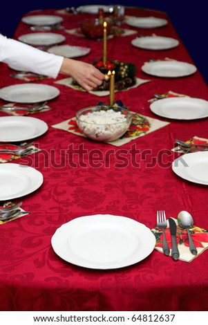 Beautiful red table setting for Christmas