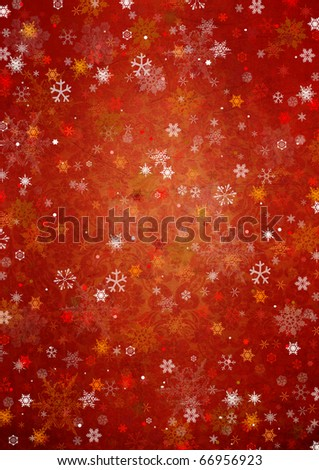 Beautiful  red winter background with snowflakes