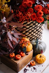 Beautiful red, yellow and orange coloured flowers standing on the table with tiny decorative oriental pumpkins, making autumn outlay, vertical photo