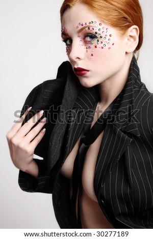 fancy makeup. girl with fancy makeup in
