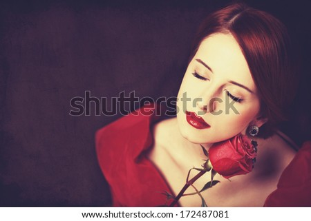 Beautiful redhead women with <b>rose. Photo</b> in old color image style. - stock-photo-beautiful-redhead-women-with-rose-photo-in-old-color-image-style-172487081