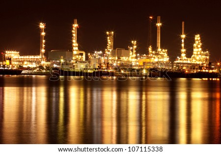 Beautiful refinery oil plant at night
