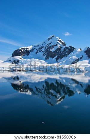 Beautiful reflecting mountain and glaciers in Paradise Bay, Antarctica