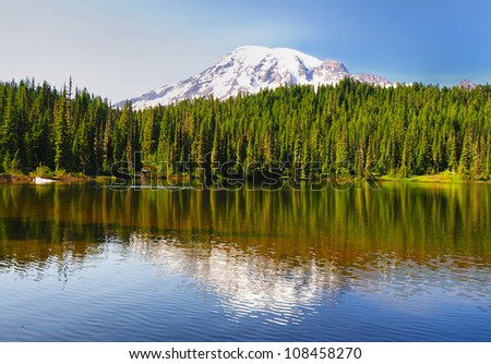 Beautiful reflection lake in mount rainer