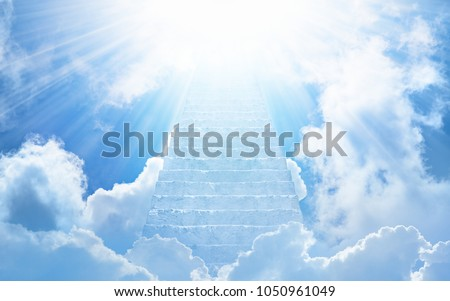 Beautiful religious background - stairs to heaven, bright light from heaven, stairway leading up to skies #1050961049