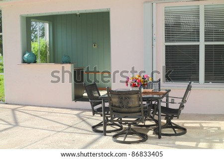Beautiful residential  patio with furniture and a bar