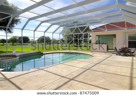 Beautiful residential screened-in swimming pool with patio and patio furniture with room for your copy