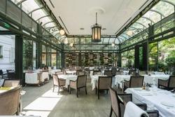Beautiful restaurant summer terrace interior