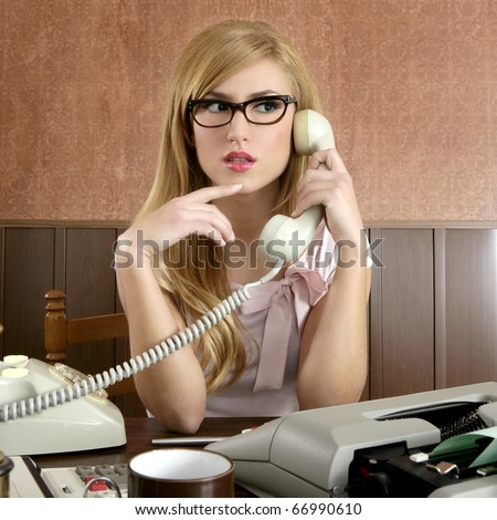 beautiful retro businesswoman vintage secretary wooden office and glasses talking telephone