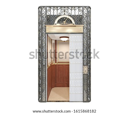 Beautiful retro elevator. Elevator with open slatted door. Retro elevator. Elevator with open slatted door. 3d illustration isolated on white background.