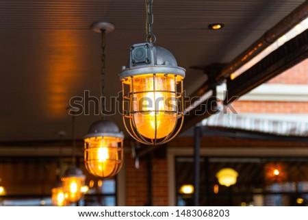 beautiful Retro style lighting decor bulb decor in restaurant Bangkok city, Thailand