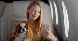 Beautiful rich woman with dog using smartphone in first class plane. Portrait of elegant wealthy lady stroking cocker spaniel and surfing internet on mobile phone in private jet