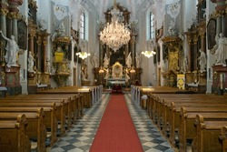 Beautiful richly decorated interior of the church in europe