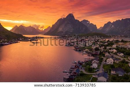 Beautiful Riene fishing village at sunset in Lofoten, Norway