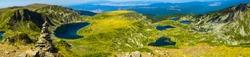 Beautiful Rila Seven Lakes panorama in Rila mountain, Bulgaria