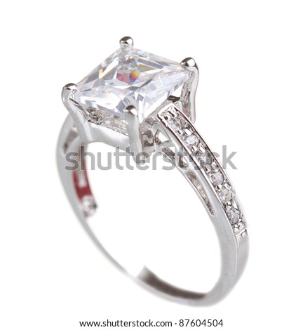 beautiful ring with gem isolated on white