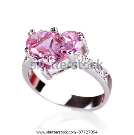 beautiful ring with pink gem isolated on white
