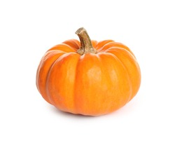 Beautiful ripe orange pumpkin isolated on white