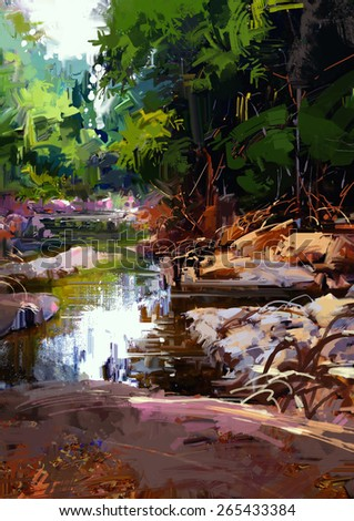 beautiful river amongst large stones in summer forest,digital painting,illustration