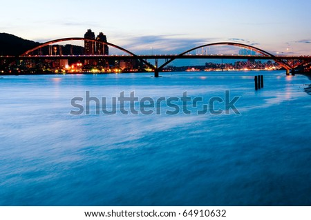 Beautiful river and bridge in Taipei city