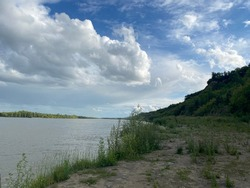 Beautiful river bank, sky.  beautiful nature