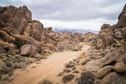 Beautiful road and rocks in Alabama Hills in California, United States close to Sierra Nevada Mountains