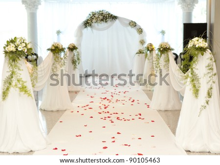 Beautiful road with rose petal for a wedding ceremony