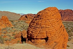 Beautiful rock formations at Red Rock National Park. Blue skies and red sand stone formations, Nevada.
