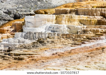 Beautiful rock formations. Mammoth Hot Springs, on a hill of travertine in Yellowstone National Park, USA #1073107817