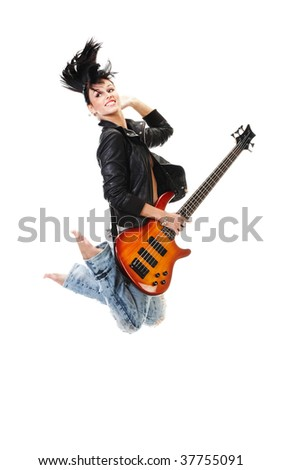 Beautiful rock-n-roll girl jumping with guitar isolated over white background - stock photo