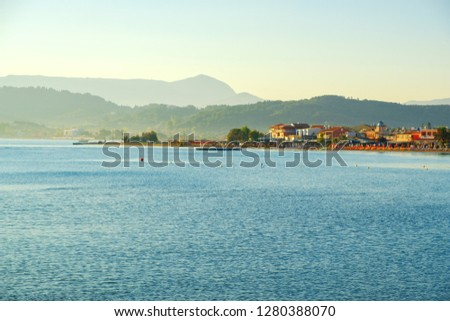 Beautiful rocky coastline in amazing blue Ionian Sea at sunrise in Sidari holiday village on Corfu island with famous Canal d'Amour channel in Greece ,Europe