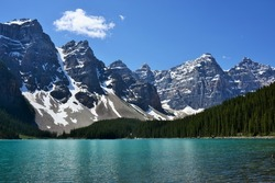 Beautiful Rocky Mountain Peaks Towering Over Evergreen Forest and Teal Lake