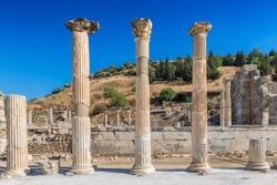 Beautiful Roman pillars in the ruins of Ephesus, Selcuk, Izmir, Turkey