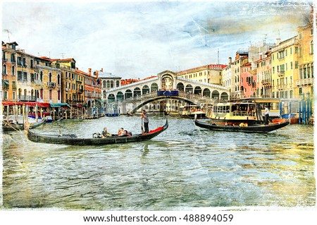 Beautiful romantic canals of Venice, Rialto bridge. artwork in painting style