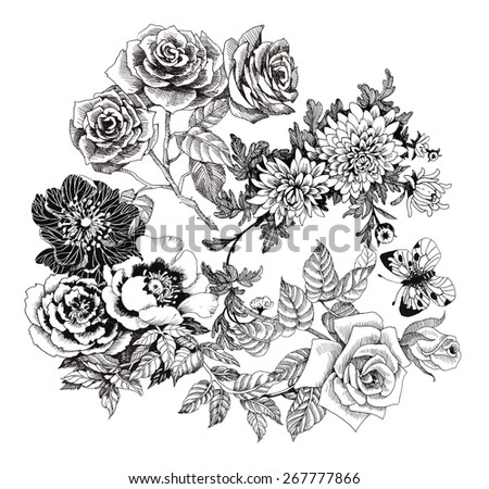 Beautiful romantic floral pattern with butterflies on white background