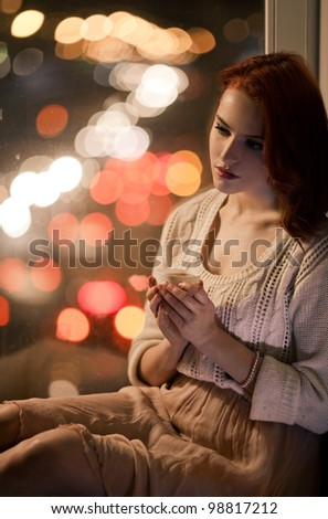 Beautiful Romantic Girl With Cup of Coffee