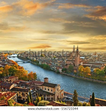 Beautiful Romantic Verona On Sunset. Italy
