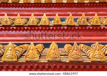 beautiful roof of buddhist temple in Thailand