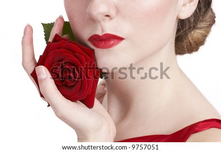 beautiful rose and red lips