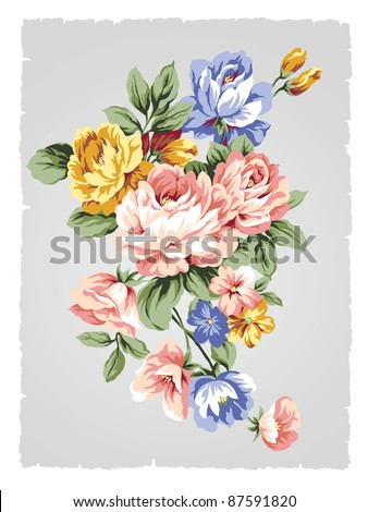 beautiful Rose bouquet design-Simple background